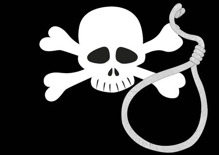 eye sockets: Pirate flag and the rope with a noose. Black and white illustration.