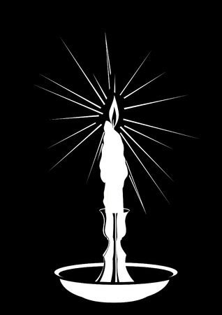 candlestick: A burning candle in a candlestick. Black and white illustration. Illustration