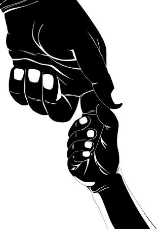 grande e piccolo: Childs mano che tiene il dito di un adulto. Illustrazione in bianco e nero.