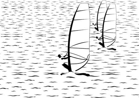 omini bianchi: Attivit� per il tempo libero in mare. Illustrazione in bianco e nero.