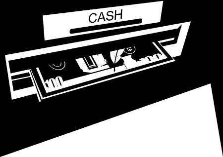 activacion: Billetes emitidos por el cajero autom�tico. La obtenci�n de dinero en efectivo en los cajeros autom�ticos. Ilustraci�n en blanco y negro. Vectores