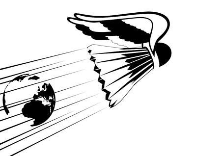 shuttlecock: Abstract badminton shuttlecock with wings. Black and white illustration. Illustration