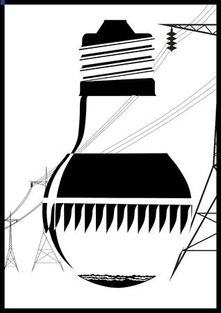 The image inside the bulb which is hydroelectric. Black and white illustration. Vector