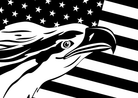 dominion: The head of an eagle against the U.S. flag. Black and white illustration.
