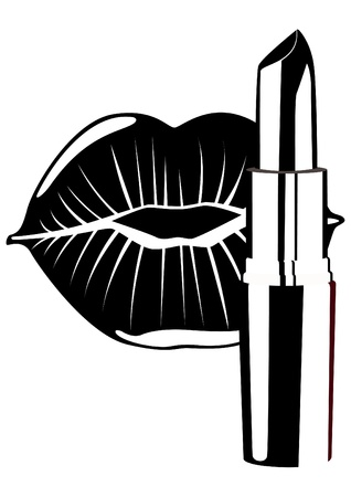 Cosmetic. Lipstick and lip women. Black and white illustration.