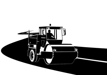 Road construction machinery on the road. Black and white illustration. Vector