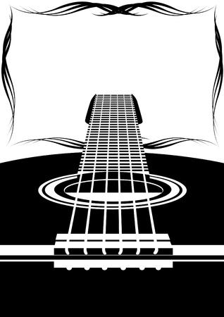 gitarre: Sechs-Saiten-Gitarre und ein abstraktes Bild. Schwarz-Wei�-Darstellung