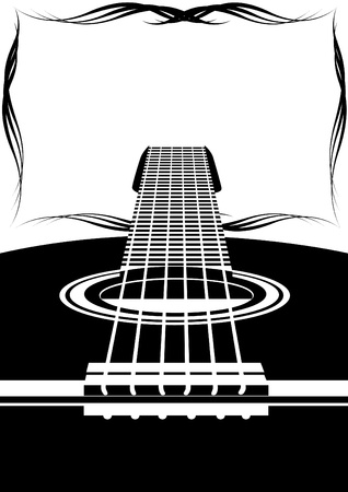guitar neck: Six-string guitar and an abstract frame. Black and white illustration