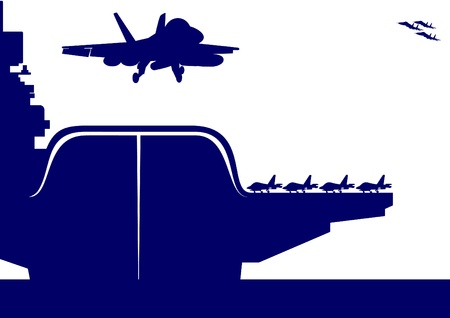 The plane takes off from the deck of an aircraft carrier. The illustration on the military theme. Vector