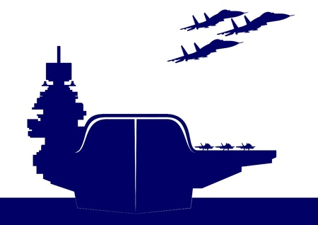 interceptor: The plane takes off from the deck of an aircraft carrier. The illustration on the military theme. Illustration