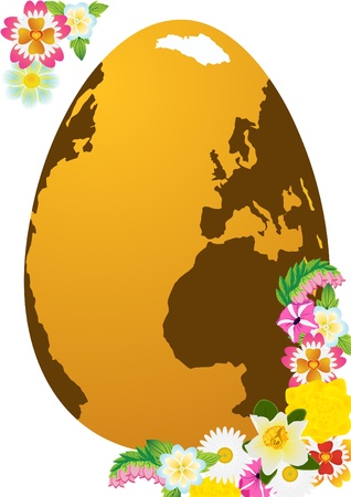 Abstract Easter egg and flowers of the field. The illustration on a white background. Vector