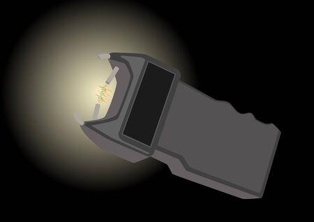 electroshock: Electroshock device and spark. The illustration on a black background.