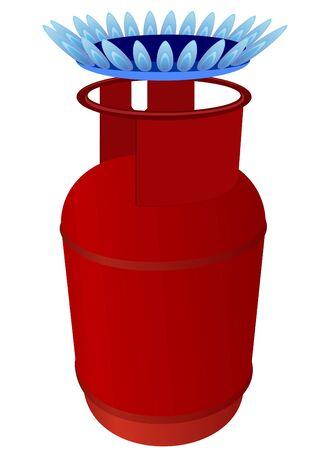 cilindro de gas: Hogar cilindro de gas y la llama del quemador. La ilustraci�n de un fondo blanco.