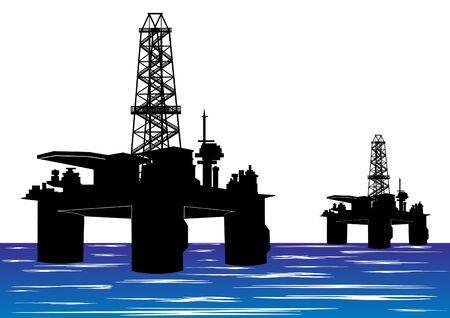 Mines et carrières. Plates-formes de forage pétrolier.