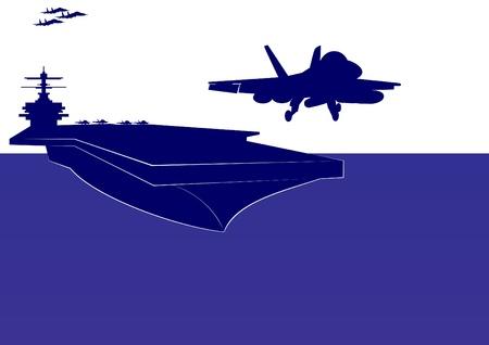 azul marino: El avi�n despega de la cubierta de un portaaviones. La ilustraci�n en el tema militar.