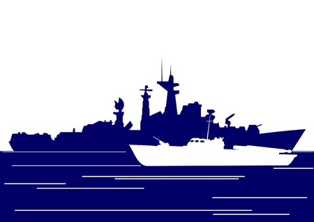 destroyer: Ships of the Navy. The illustration on the military theme. Illustration