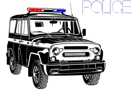 Cop SUV with special signal. Black and white illustration Vector