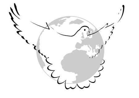 Flying Pigeon on the background of the planet Earth. Black and white illustration. Vector