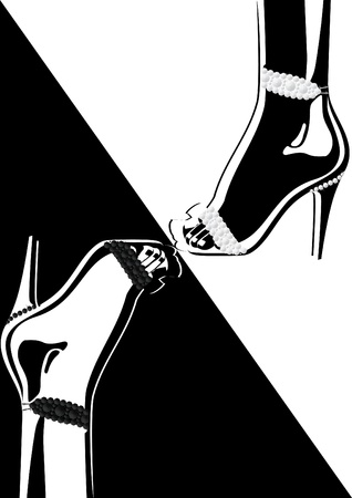 diamonds on black: High-heeled shoes adorned with diamonds. Black and white illustration.