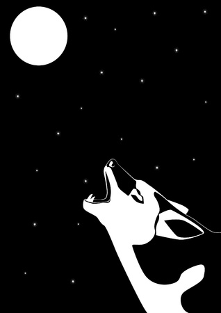 animal body part: Wolf howling at the moon. Black and white illustration.