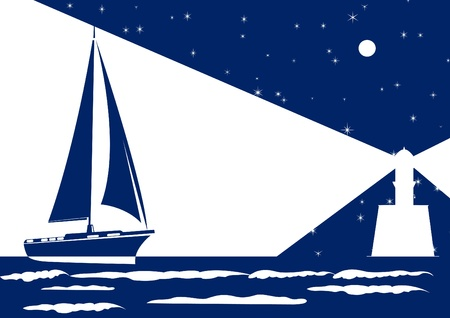 Sailing ship sails at night to light the lighthouse Vector