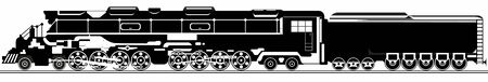 The steam locomotive. Old rail. Black and white illustration Vector