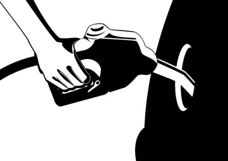 Mans hand holding a gun inserted in filling the fuel tank filler neck car. Black and white illustration. Vector