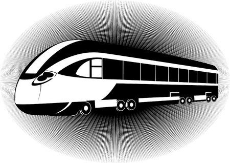 intercity: Modern rail transport. Black and white illustration
