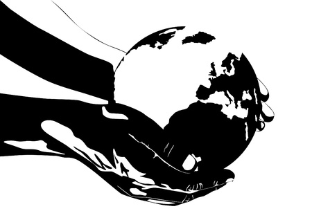 An abstract image. Persons hand holding the earth. Black and white illustration. Vector
