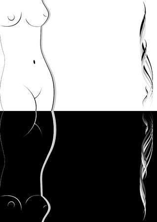 black breast: White outline of a female body and its reflection. Black and white illustration. Illustration