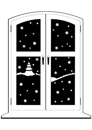 Winter night. Snow outside the window. Black and white illustration.