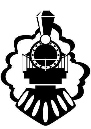 petit train: La locomotive � vapeur. Vieux chemin de fer. Illustration en noir et blanc