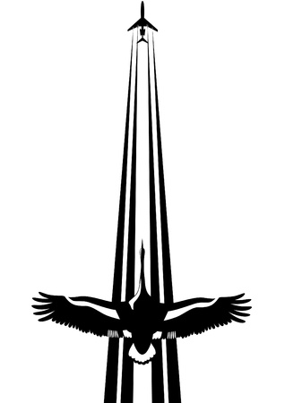 A flying bird against a background of flying in the sky plane. Black and white illustration