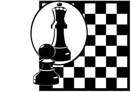 chess set: Against the background of a chessboard Pawn looks in the mirror and sees himself as the Queen. Black and white illustration.
