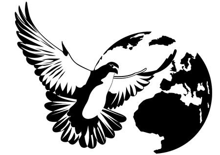 zwart wit tekening: Flying Pigeon op de achtergrond van de planeet Aarde. Zwart-wit illustratie Stock Illustratie