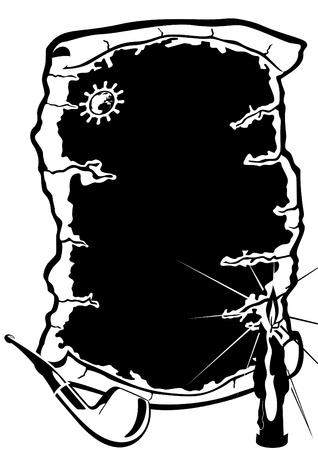 Pergamino, velas y una pipa. Ilustraci�n en blanco y negro. Foto de archivo - 11958399