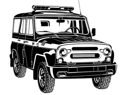 suv: Cop SUV with special signal. Black and white illustration Illustration