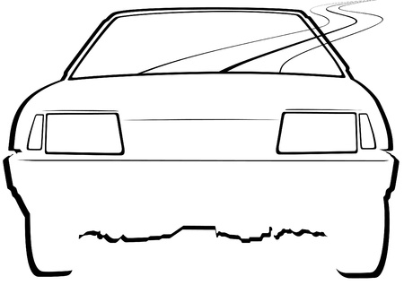 drawings image: The contour of a car traveling on the road. Black and white illustration Illustration