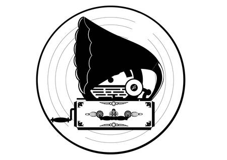 pickups: Gramophone. Giradischi d'epoca. Illustrazione in bianco e nero. Vettoriali