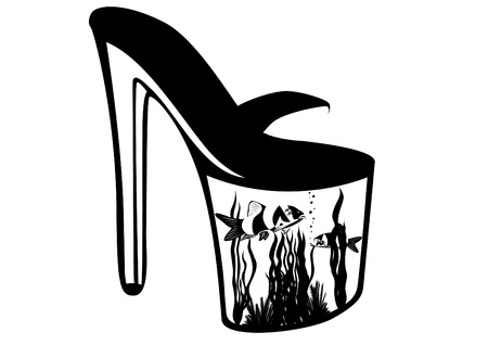 An abstract image of womens shoes with an aquarium inside the sole. Black and white illustration. Vector