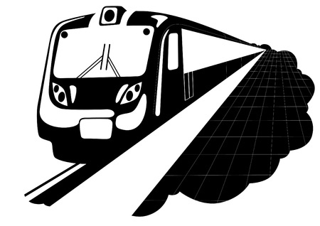 metro: Metro. Urban electric. Black and white illustration Illustration