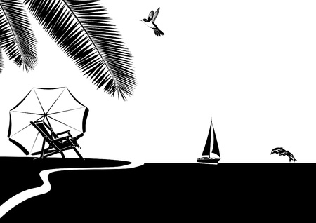 Summer coastal landscape. Black and white illustration. Vector