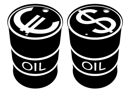 Iron drums of petroleum products and images on them currency symbols. Black and white illustration. Vector