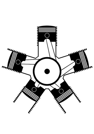 flywheel: An abstract image of the pistons in the cylinders. Black and white illustration.