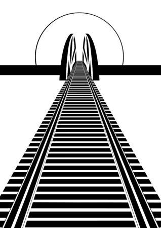 szynach: Linia kolejowa i most kolejowy. Czarno-biała ilustracja