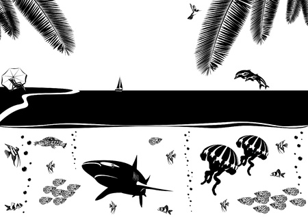 Summer coastal landscape and the inhabitants of the underwater world. Black and white illustration. Vector