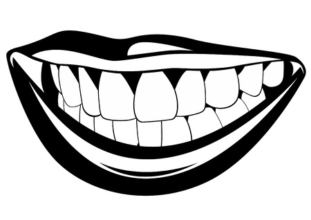 lips smile: Part of the human face. Black and white illustration.