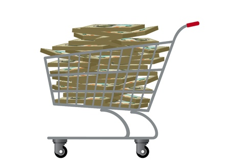car bills: Trolley for products, which are bundles of banknotes.