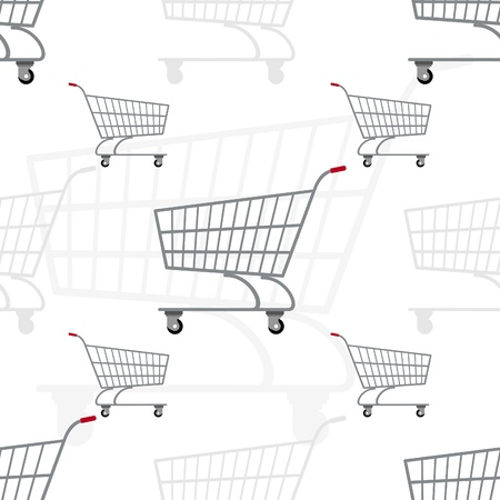 Seamless illustration of the trolley for transportation of products. The illustration on a white background. Vector