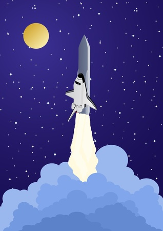 Space rocket launched into space. Night Landscape. Vector